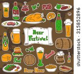 sketched colored beer and... | Shutterstock .eps vector #315852896