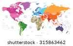 world political map colored by... | Shutterstock .eps vector #315863462
