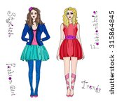 vector hand drawn fashion and... | Shutterstock .eps vector #315864845
