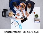 top view of a team of office... | Shutterstock . vector #315871568