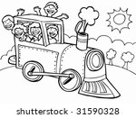 cartoon train ride sun line art ... | Shutterstock .eps vector #31590328