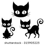 Stock vector halloween set of a black cat 315905225
