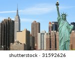 the statue of liberty and...   Shutterstock . vector #31592626