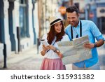 young couple traveling  reading ... | Shutterstock . vector #315931382