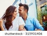 attractive couple hugging in...   Shutterstock . vector #315931406