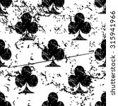 clubs pattern grunge  black...