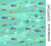 vector cartoon flat ocean stuff ... | Shutterstock .eps vector #315957245