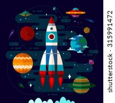 vector flat space elements with ... | Shutterstock .eps vector #315991472