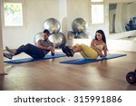 doing some exercises together.... | Shutterstock . vector #315991886