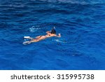 young woman in swimsuit... | Shutterstock . vector #315995738