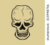 drawing pen skull with a smile... | Shutterstock .eps vector #315998756