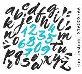 hand painted brush alphabet.... | Shutterstock .eps vector #316003766