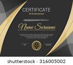 vector certificate template. | Shutterstock .eps vector #316005002