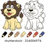 happy cartoon lion. vector... | Shutterstock .eps vector #316006976