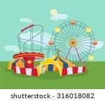 amusement park. vector flat... | Shutterstock .eps vector #316018082