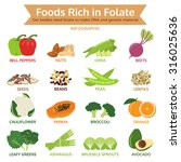 foods rich in folate  vegetable ... | Shutterstock .eps vector #316025636