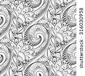 vector seamless monochrome... | Shutterstock .eps vector #316030958