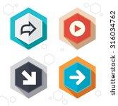 hexagon buttons. arrow icons.... | Shutterstock .eps vector #316034762