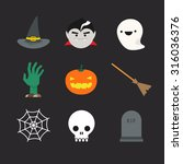 flat halloween icons. witch hat ...