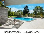 beautiful house  swimming pool... | Shutterstock . vector #316062692