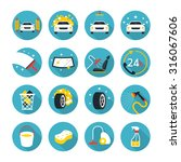 Car Wash Objects Icons Set ...