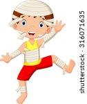 funny cartoon little mummy  boy ... | Shutterstock .eps vector #316071635