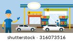 cars in gas station and service ... | Shutterstock .eps vector #316073516