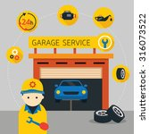 car  mechanic and garage... | Shutterstock .eps vector #316073522