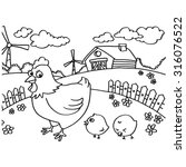 chicken coloring pages vector  | Shutterstock .eps vector #316076522