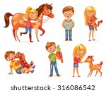 caring for animals. dog licking ... | Shutterstock .eps vector #316086542
