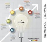 5 steps progress on light bulb... | Shutterstock .eps vector #316099136