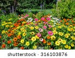 Flowerbed With Mixed Zinnia...