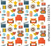 flat cinema seamless pattern... | Shutterstock .eps vector #316113176