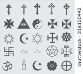 25 religious icons | Shutterstock .eps vector #316120442