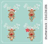 set of cute christmas character.... | Shutterstock .eps vector #316136186