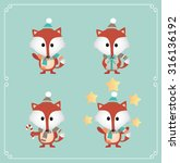 set of cute christmas character.... | Shutterstock .eps vector #316136192