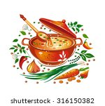 soup in the saucepan ... | Shutterstock .eps vector #316150382