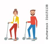 boy and girl on scooter  vector ... | Shutterstock .eps vector #316151138