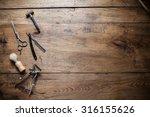 vintage barber shoop tool on... | Shutterstock . vector #316155626