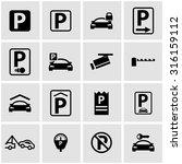 vector black parking icon set | Shutterstock .eps vector #316159112
