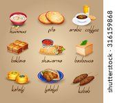 arabic food cartoon icons set... | Shutterstock .eps vector #316159868