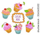vector set of yummy cupcakes. | Shutterstock .eps vector #316163102