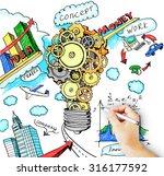 hand draws a startup concept   Shutterstock . vector #316177592
