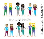 collection of sporty people | Shutterstock .eps vector #316189922