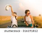 two happy female friends... | Shutterstock . vector #316191812