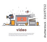 thin line video marketing.... | Shutterstock .eps vector #316197212