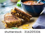 fresh tomato soup with grilled... | Shutterstock . vector #316205336