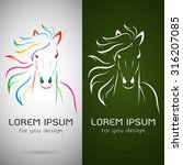 Stock vector vector image of an horse design on white background and green background logo symbol animals 316207085