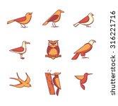 Birds Icons Thin Line Set. Fla...