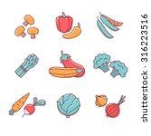 vegetable icons thin line set.... | Shutterstock .eps vector #316223516